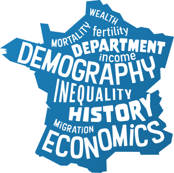 Tag cloud in a schematized map of France
